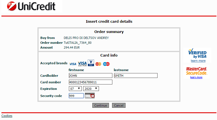 Bank UniCredit secure payment page